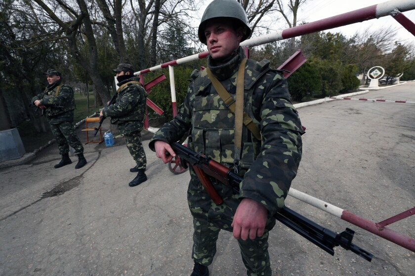 Ukrainian soldiers were back in control of their anti-aircraft base in the city of Yevpatoria in Crimea on Thursday.
