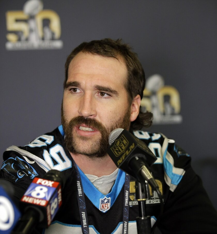 FILE - In this Feb. 7, 2015, file photo, Carolina Panthers defensive end Jared Allen answers questions during a press conference in San Jose, Calif. Jared Allen announced his retirement from football on Twitter, Thursday, Feb. 18, 2016. (AP Photo/Marcio Jose Sanchez, File)