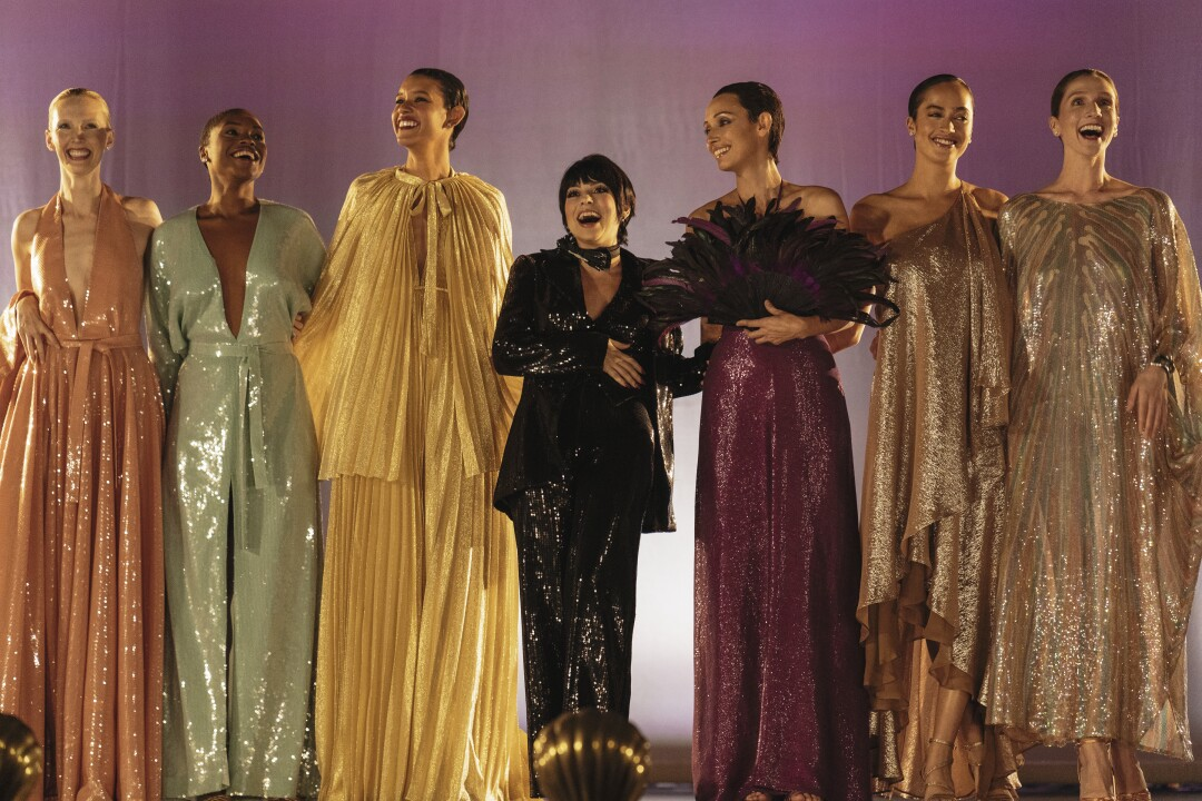 """Krysta Rodriguez as Liza Minnelli on stage with Halston models in """"Halston."""""""