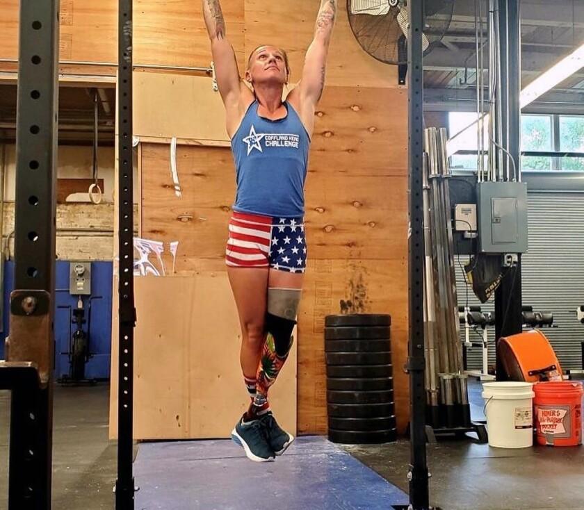 Multisport para-athlete Sarah Rudder, 38, of Oceanside works out