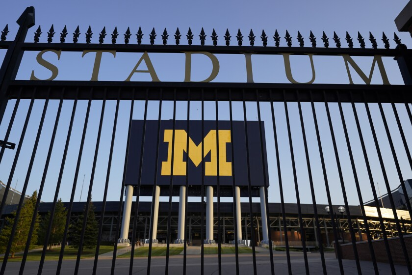 The University of Michigan football stadium is shown in Ann Arbor, Mich., Thursday, Aug. 13, 2020.