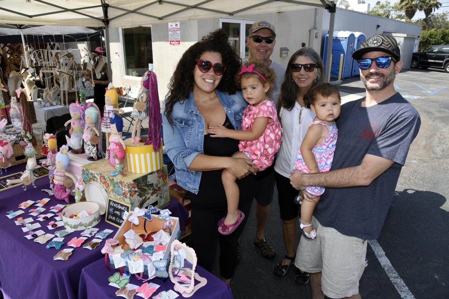 Dollmaker Helen Jaeger with Emelia, Grandparents Bruce and Denise Jaeger, James Jaeger with Madeline