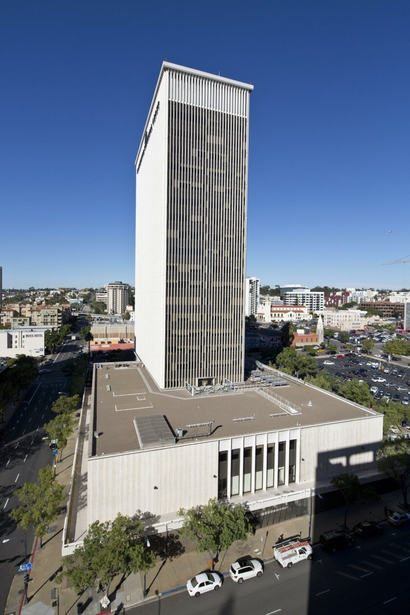 The Gas and Electric Building, former home to SDG&E, would be transformed into a hotel-apartment-office-entertainment center under plans being developed by owner Sandor Shapery.