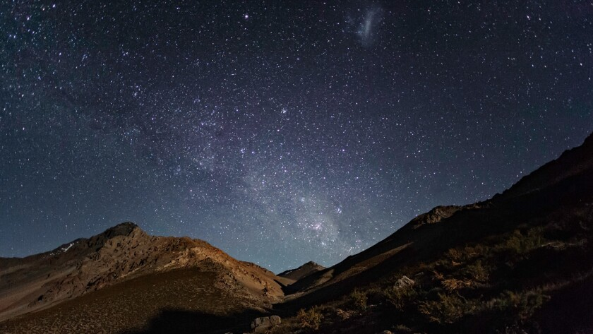 A photograph of the night sky above a wilderness sanctuary in the Elqui Valley, Chile in a scene fro