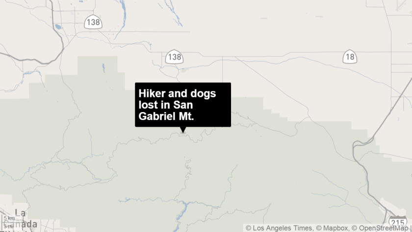 Search teams are looking for a hiker and his dogs lost in the San Gabriel Mountains.