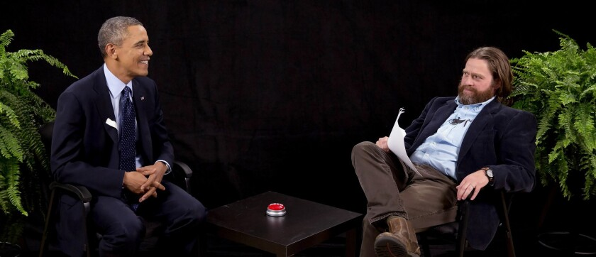 """President Obama with actor-comedian Zach Galifianakis during an appearance on """"Between Two Ferns."""""""