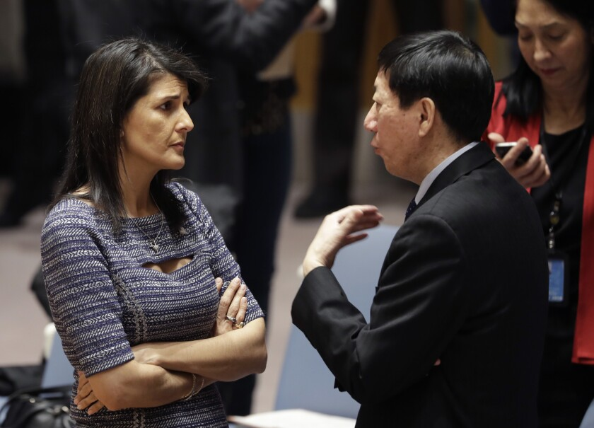 U.S. Ambassador to the United Nations Nikki Haley talks with Chinese deputy ambassador Wu Haitao, Fr