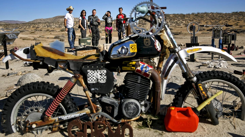 Mojave Desert memorial to fallen motorcycle riders
