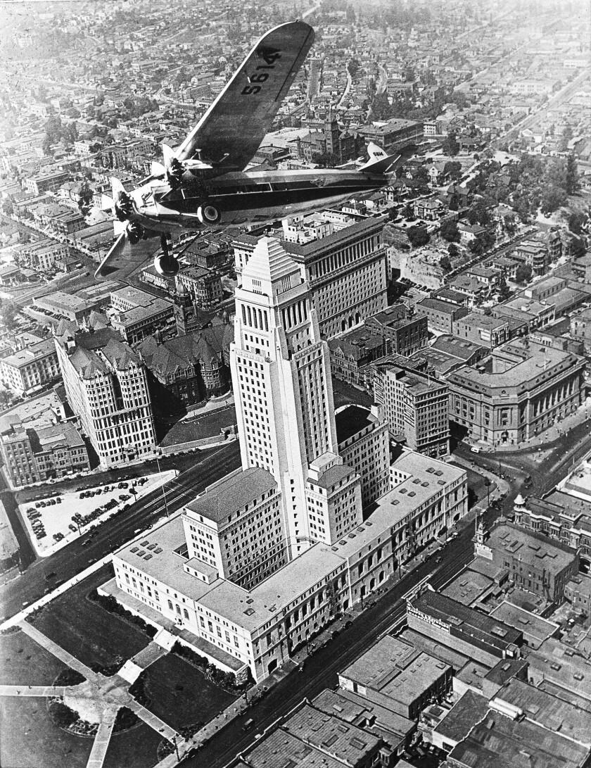 """Flying over the newly constructed City Hall, from """"The Mirage Factory,"""" by Gary Krist"""