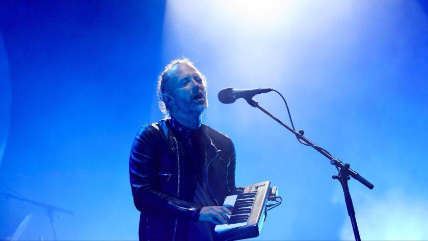 Thom Yorke of Radiohead perform Friday night at Coachella.