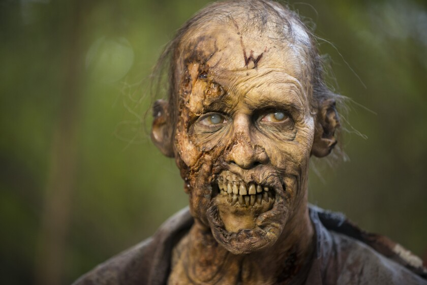 "A walker from ""The Walking Dead."""