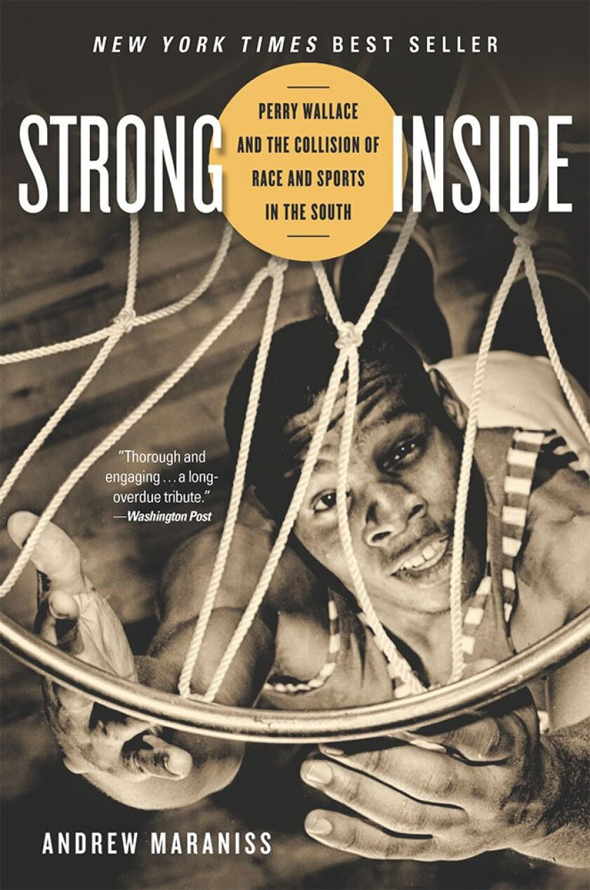 """Strong Inside"" book cover with shot looking down at Perry Wallace through a basketball hoop."