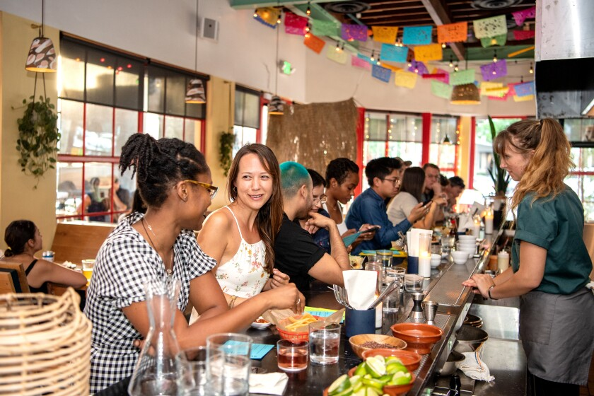 The bar in Amá•cita's dining room