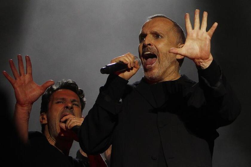 El cantante español Miguel Bosé durante una presentación. EFE/Archivo