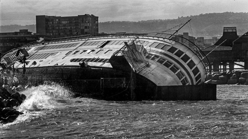 Feb. 19, 1980: The 225-foot Lady Alexandria, a floating restaurant and disco at Redondo Beach was scuttled after being damaged by storms.
