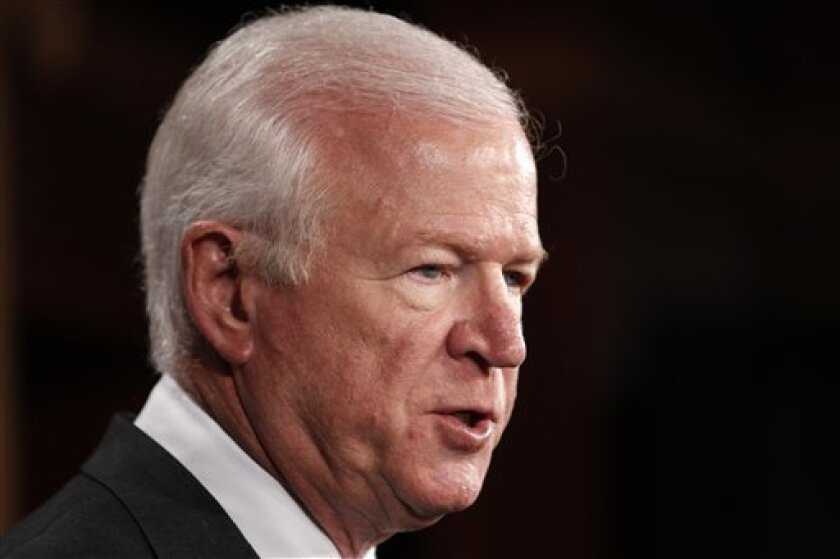 FILE - In this April 21, 2010 file photo, Senate Intelligence Committee Vice Chairman Sen. Saxby Chambliss, R-Ga. speaks on Capitol Hill in Washington. Saxby said Thursday the panel is scheduled to vote early next week on John Brennan's nomination to be director of the CIA.  (AP Photo/Charles Dhara