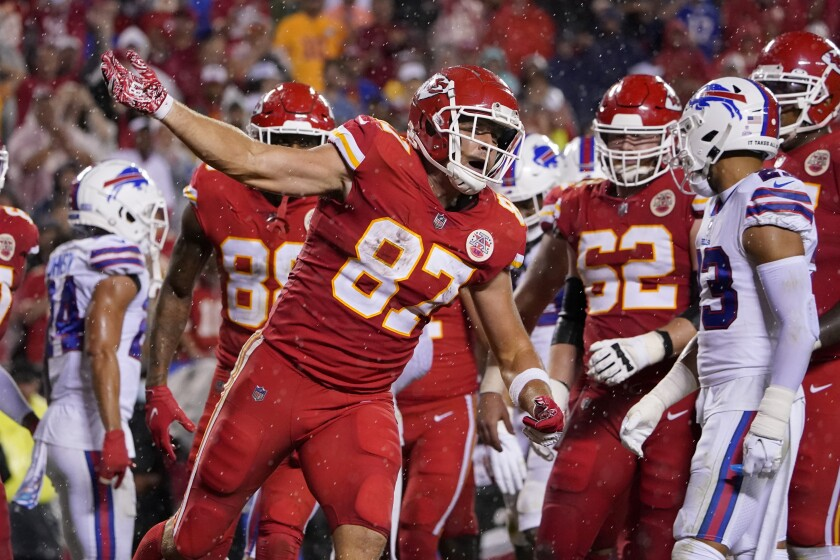 Kansas City Chiefs tight end Travis Kelce celebrates after scoring during the second half of an NFL football game against the Buffalo Bills Sunday, Oct. 10, 2021, in Kansas City, Mo. (AP Photo/Ed Zurga)
