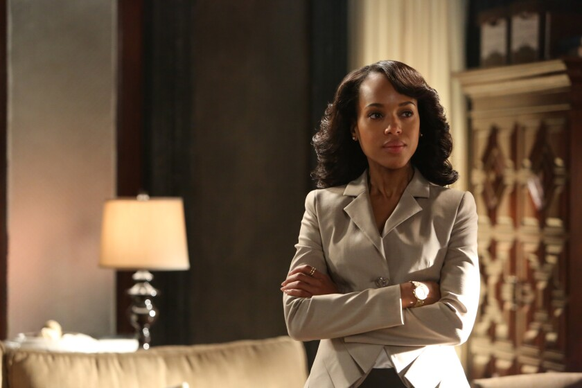 """Kerry Washington as Olivia Pope, dressed in a signature color, in a scene from the Shondaland show """""""