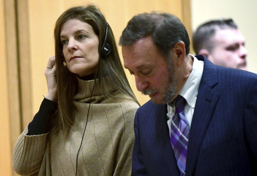 Michelle Troconis, charged with conspiracy to commit murder in the disappearance of Jennifer Dulos, appears for a pre-trial hearing, Friday, Feb. 6, 2020, at the Stamford Superior Court in Stamford, Conn. Troconis, ex-girlfriend of Fotis Dulos pleaded not guilty to conspiring with him in connection with the disappearance and presumed death of his estranged wife, Jennifer Dulos. (Erik Trautmann/Hearst Connecticut Media via AP, Pool)
