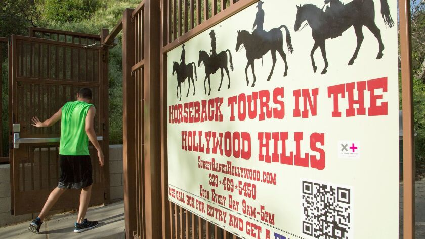 The Beachwood Drive gate, seen in March, is now closed to hikers trekking to the Hollywood sign.