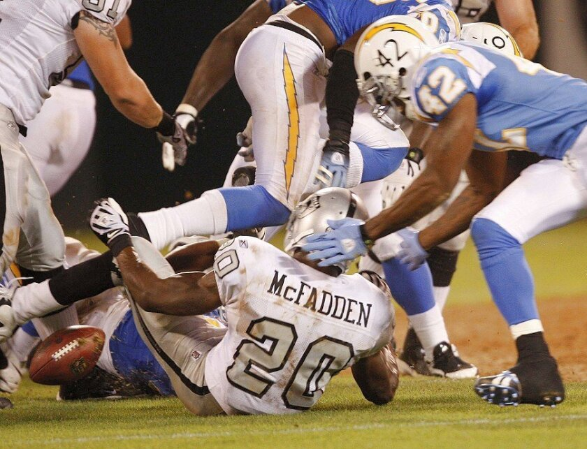The Chargers forced a Darren McFadden fumble in the season opener at Oakland.