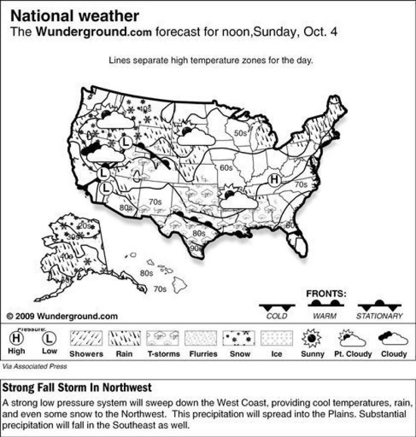 The forecast for noon, Sunday, Oct. 4, 2009 shows a strong low pressure system will sweep down the West Coast, providing cool temperatures, rain, and even some snow to the Northwest. This precipitation will spread into the Plains. Substantial precipitation will fall in the Southeast as well. (AP Photo/Weather Underground)