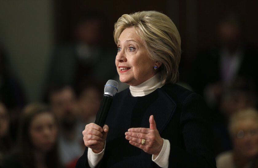 Democratic presidential candidate Hillary Clinton speaks during a town hall at the Toledo Civic Center in Toledo, Iowa on Jan. 18.