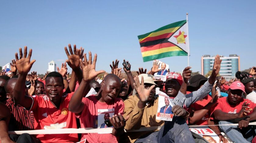 The Movement for Democratic Change party holds its final rally July 28 in Harare, Zimbabwe, two days before polls open.