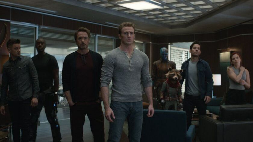 "Hawkeye (Jeremy Renner), War Machine (Don Cheadle), Iron Man (Robert Downey Jr.), Captain America (Chris Evans), Nebula (Karen Gillan), Rocket (voiced by Bradley Cooper), Ant-Man (Paul Rudd) and Black Widow (Scarlett Johansson) in ""Avengers: Endgame."""