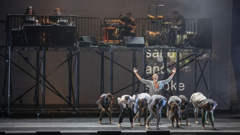 HOLLYWOOD, CALIF. -- SUNDAY, AUGUST 5, 2018: Bon Iver performs with dance company members of TU Dan