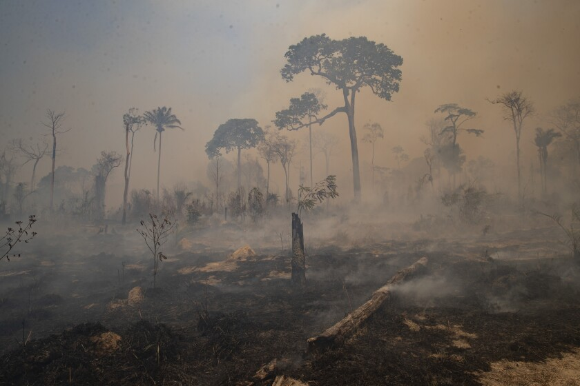 FILE - In this Aug. 23, 2020 file photo, fire consumes land recently deforested by cattle farmers near Novo Progresso, Para state, Brazil. The season of Brazilian forest fires has begun, and early data plus severe drought is sparking concern that nationwide destruction in 2021 will stay at the high levels recorded in the past two years, despite efforts to tamp down the blazes. (AP Photo/Andre Penner, File)