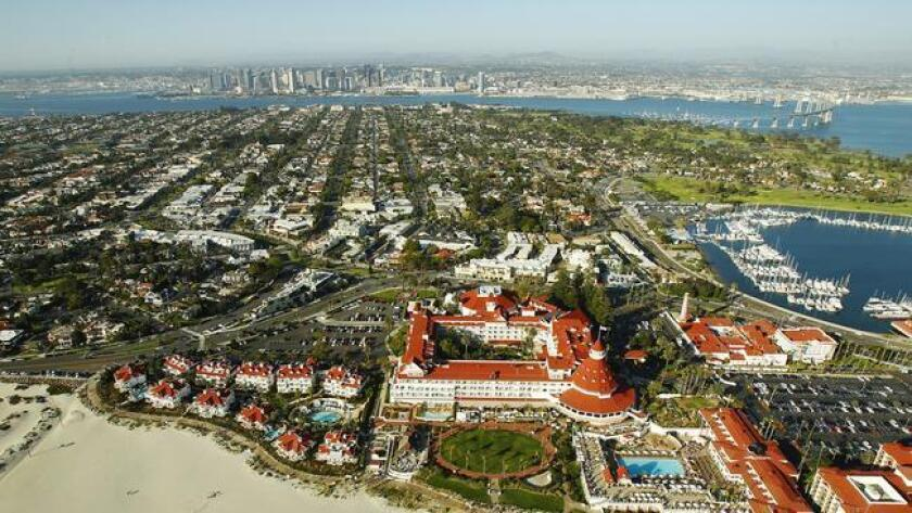 The Hotel Del Coronado sits along Coronado Beach, often ranked among top beaches for visitors. (K.C. Alfred)