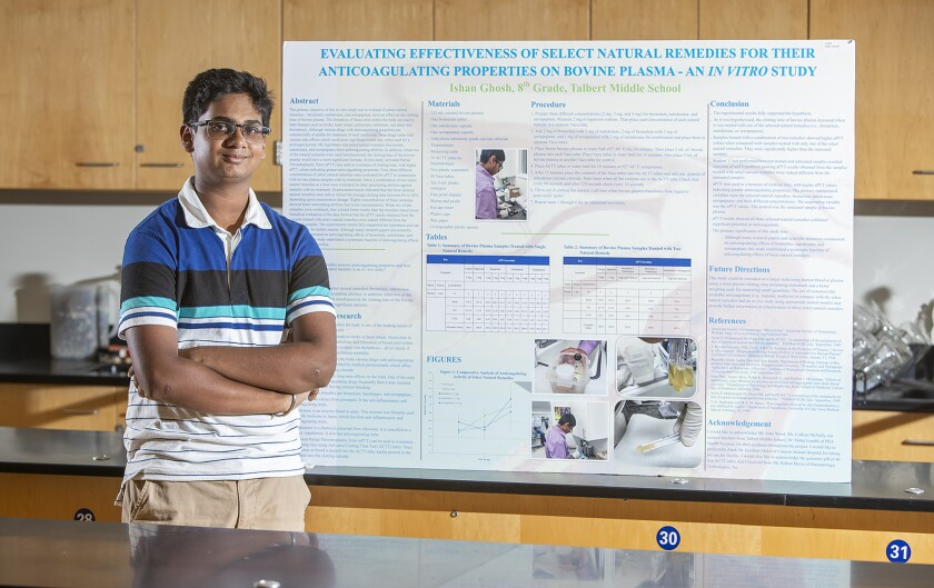 Ishan Ghosh, 14, a Huntington Beach student, is among the top 300 middle school scientists in the country, according Broadcom Masters, a science, technology, engineering and math competition.