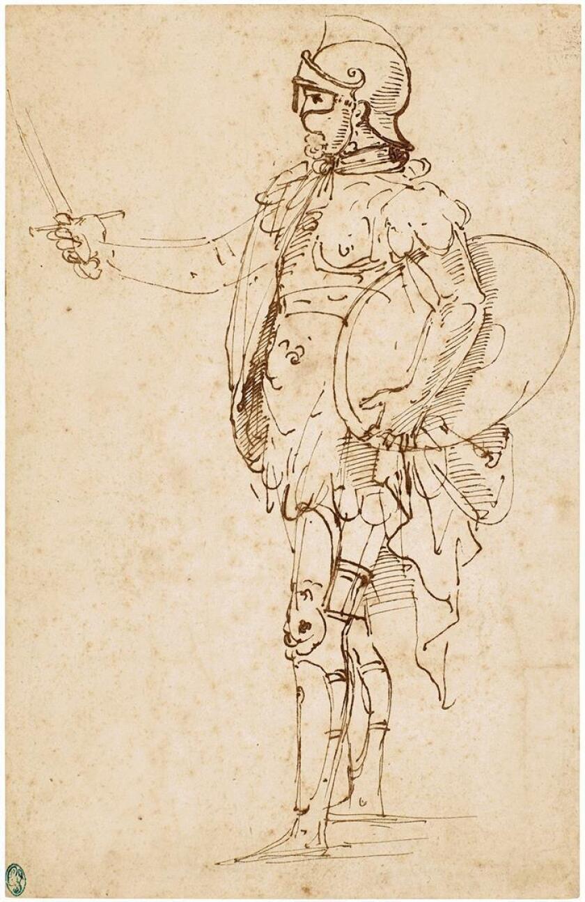 """Fotografía cedida por Sotheby's donde se aprecia el dibujo """"Standing Soldier in Armor"""" (Soldado de pie con armadura) de Rafael, elaborado en Florencia en los primeros años de su carrera, sobre 1506 o 1507, recientemente descubierto, que sale a subasta entre 800.000 y 1,2 millones de dólares. EFE/Sotheby's/SOLO USO EDITORIAL/NO VENTAS"""