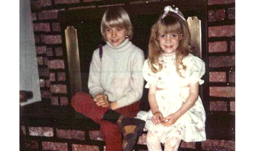 Kurt Cobain with his sister, Kim, in their childhood home southwest of Seattle on Washington's Olympic Peninsula.