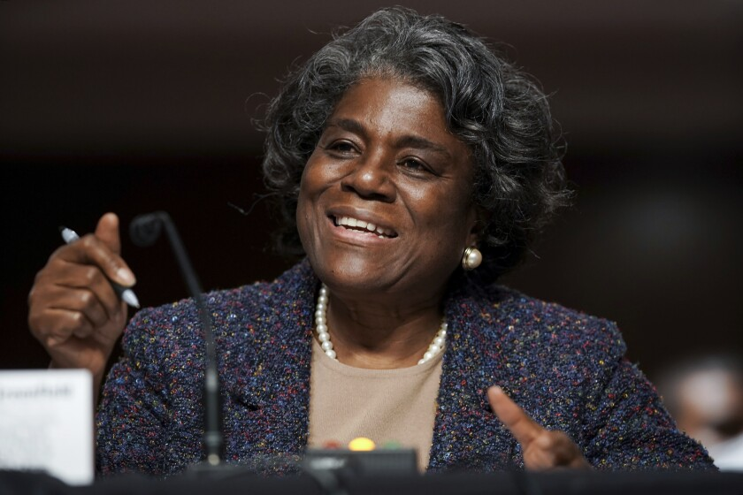 United States Ambassador to the United Nations nominee Linda Thomas-Greenfield testifies during for her confirmation hearing before the Senate Foreign Relations Committee on Capitol Hill, Wednesday, Jan. 27, 2021, in Washington. (Greg Nash/Pool via AP)