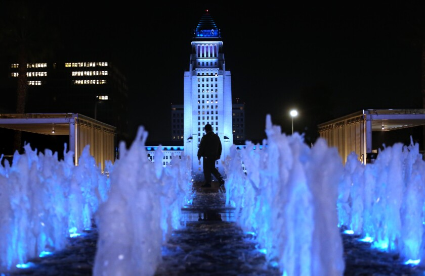 City Hall and Grand Park in blue in honor of Tommy Lasorda and Tom LaBonge.
