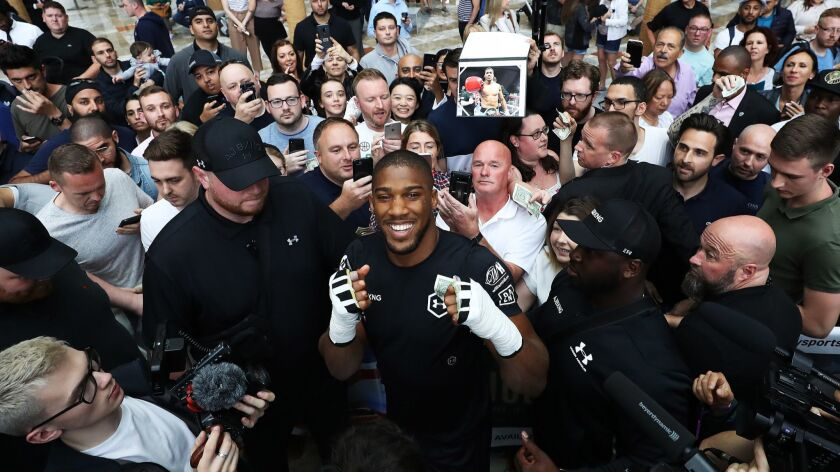 Anthony Joshua poses with fans after a session May 28 at Brookfield Place in New York.
