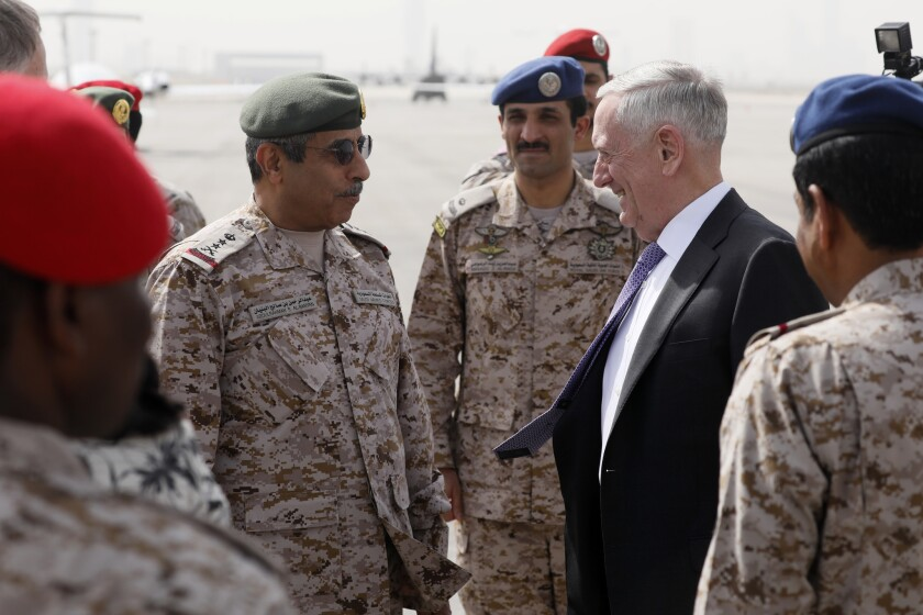 U.S. Defense Secretary James Mattis, right, is greeted by Saudi Armed Forces Chief of Joint Staff Gen. Abdul Rahman Al Banyan, left, upon his arrival at King Salman Air Base in Riyadh, Saudi Arabia, on Tuesday.
