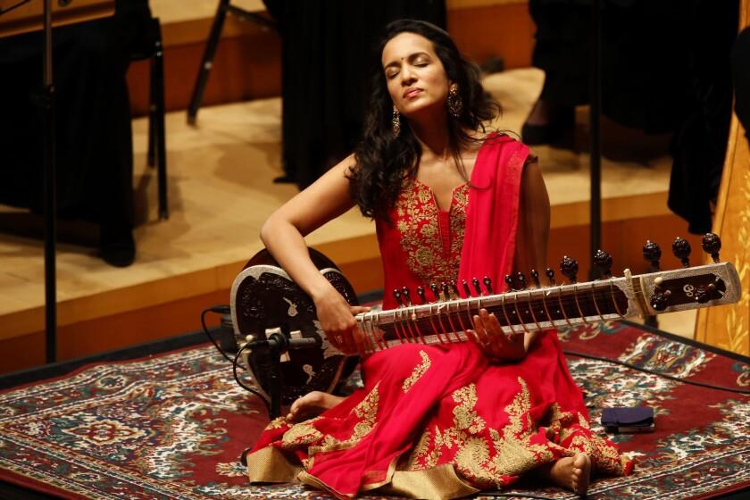 "Anoushka Shankar performing her father Ravi Shankar's Second Sitar Concerto (""€œRaga Mala""€) with the L.A. Phil."