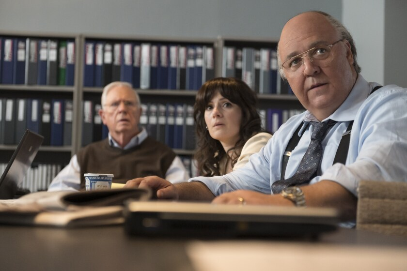 """Russell Crowe's Roger Ailes and two Fox News deputies watch the attacks on Sept. 11, 2001 in """"The Loudest Voice."""""""