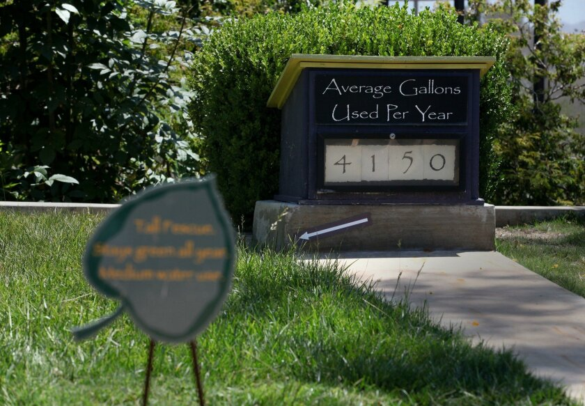 The Water Conservation Garden on the campus of Cuyamaca College shows visitors how much water that grass turf can use.