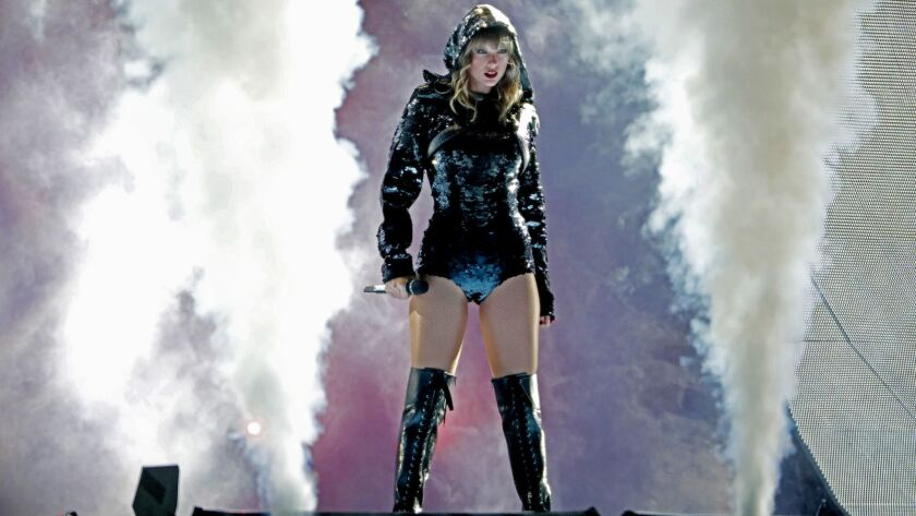 Taylor Swift performs during her Reputation tour at the Rose Bowl in Pasadena in 2018.