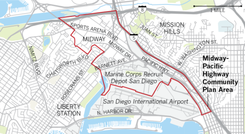 A map shows the Midway-Pacific Highway Community Plan area.