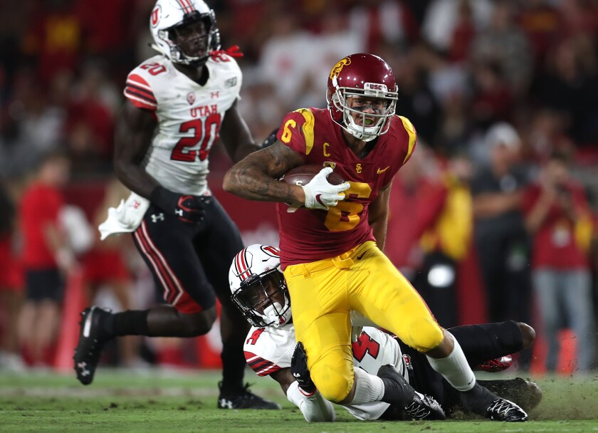 USC wide receiver Michael Pittman Jr. runs after making a catch during Friday's win over Utah.