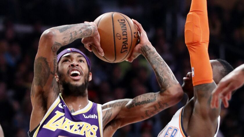 LOS ANGELES, CALIF. - JAN. 2, 2019. Lakers forward Brandon Ingram goes to the basket against Thunde