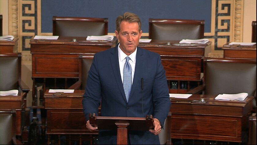 In this image from video from Senate Television, Sen. Jeff Flake, R-Ariz., speaks on the Senate floo