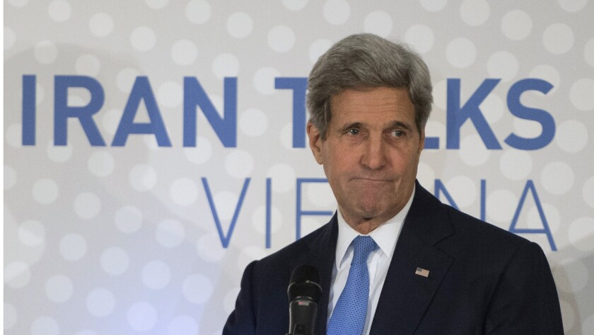 """US Secretary of State John Kerry delivers a statement in Vienna on the status of negotiations over Iran's nuclear program before he leaves Vienna on November 24, 2014. Kerry defended extending a deadline for a deal with Iran, saying """"real and substantial progress"""" was made during talks in Vienna and calling on US lawmakers not to impose new sanctions on Tehran. AFP PHOTO/JOE KLAMARJOE KLAMAR/AFP/Getty Images ** OUTS - ELSENT, FPG - OUTS * NM, PH, VA if sourced by CT, LA or MoD **"""