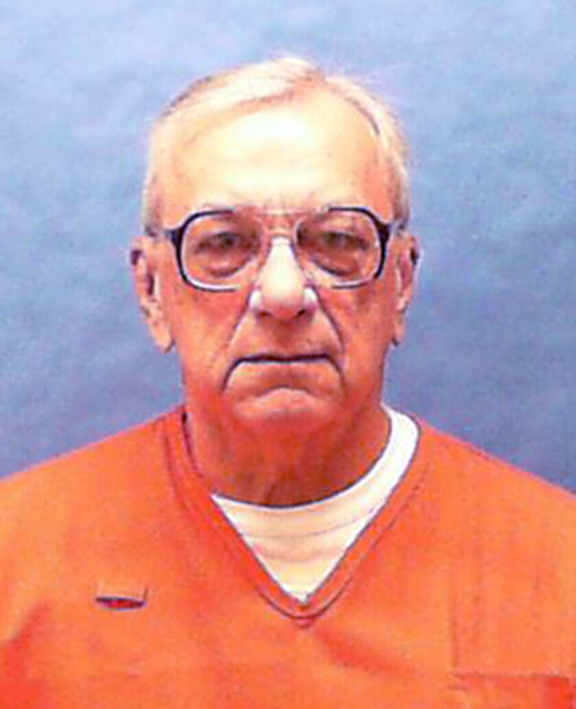 In this undated photo made available by the Florida Department of Law Enforcement, James Daily is under arrest. A Pinellas County judge heard from James Dailey, who was convicted in the murder of Shelly Boggio at a hearing Thursday, March 5, 2020 in St. Petersburg, Fla. Dailey's co-defendant, Jack Pearcy, signed a declaration in December that said Dailey had nothing to do with the murder. But he's retracted his confession. The two men were among the last people seen with the girl the night before. Gov. Ron DeSantis signed Dailey's death warrant in September, setting his execution for November. A federal judge in October granted a temporary stay of execution. That expired Dec. 30. Since then, no new execution date has been set. (Florida Dept. of Law Enforcement via AP)