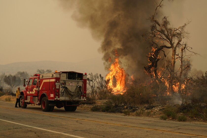 A San Bernardino County Fire Department member keeps an eye on a flareup from the Bobcat Fire on Saturday, Sept. 19, 2020, in Valyermo, Calif. (AP Photo/Marcio Jose Sanchez)
